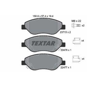 TEXTAR  2247601 Bremsbelagsatz, Scheibenbremse Breite: 150,9mm, Höhe: 57,4mm, Dicke/Stärke: 19,4mm