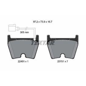 Brake Pad Set, disc brake Width: 97,2mm, Height: 73,9mm, Thickness: 16,7mm with OEM Number 8U0 698 151 J