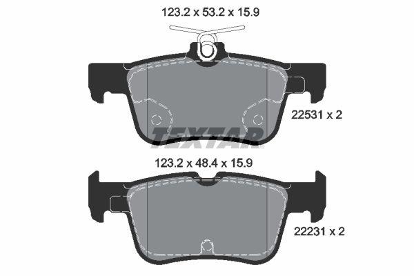 TEXTAR  2253101 Bremsbelagsatz, Scheibenbremse Breite: 123,2mm, Höhe 1: 53,2mm, Höhe 2: 48,4mm, Dicke/Stärke: 15,9mm