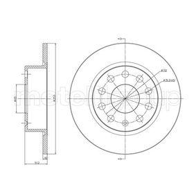 Bremsscheibe Bremsscheibendicke: 10,0mm, Lochanzahl: 5, Ø: 253,0mm mit OEM-Nummer 1K0 615 601 AB