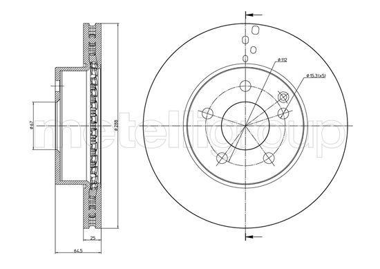 METELLI  23-0934C Bremsscheibe Bremsscheibendicke: 25,0mm, Lochanzahl: 5, Ø: 288,0mm