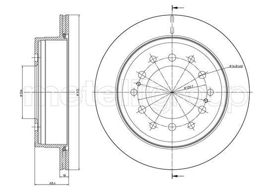 METELLI  23-0972C Disque de frein Épaisseur du disque de frein: 18,0mm, Nbre de trous: 6, Ø: 312,0mm