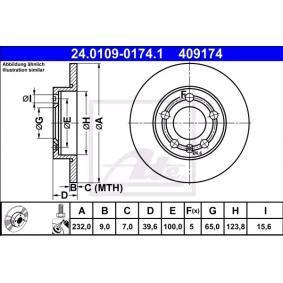 Bremsscheibe Bremsscheibendicke: 9,0mm, Lochanzahl: 5, Ø: 232,0mm mit OEM-Nummer 1JE 615 601