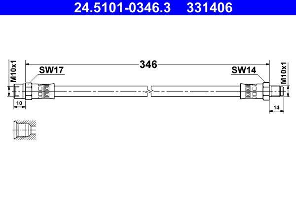 ATE  24.5101-0346.3 Bremsschlauch Länge: 346mm, Innengewinde: M10x1mm, Außengewinde: M10x1mm