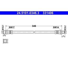 ATE  24.5101-0346.3 Bremsschlauch Länge: 346mm, Außengewinde: M10x1mm