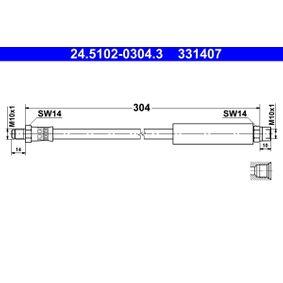 Bremsschlauch Länge: 304mm, Innengewinde: M10x1mm, Außengewinde: M10x1mm mit OEM-Nummer 34 32 1 154 327