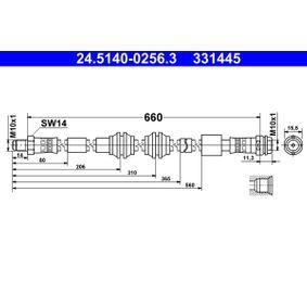 ATE  24.5140-0256.3 Bremsschlauch Länge: 660mm, Außengewinde: M10x1mm
