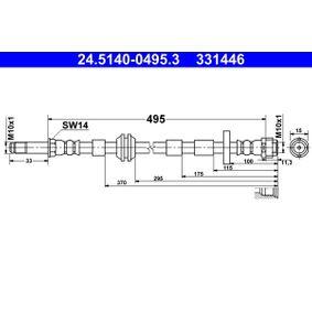 Bremsschlauch Länge: 495mm, Außengewinde: M10x1mm mit OEM-Nummer 4H0611707C