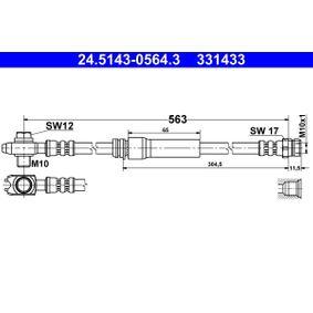 ATE  24.5143-0564.3 Bremsschlauch Länge: 563mm, Innengewinde: M10x1mm