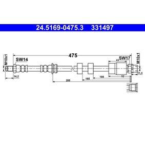 ATE  24.5169-0475.3 Bremsschlauch Länge: 475mm, Außengewinde: M10x1mm