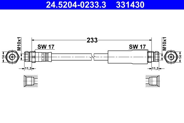 ATE  24.5204-0233.3 Bremsschlauch Länge: 233mm, Innengewinde 1: M10x1mm