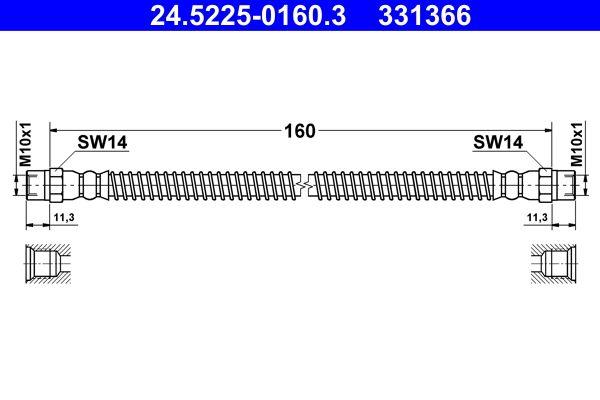 ATE  24.5225-0160.3 Bremsschlauch Länge: 160mm, Innengewinde 1: M10x1mm