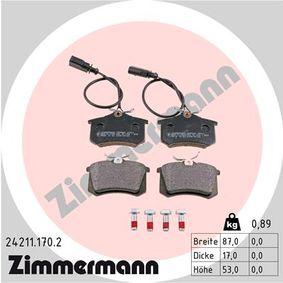 Bremsbelagsatz, Scheibenbremse Breite: 87mm, Höhe: 53mm, Dicke/Stärke: 17mm mit OEM-Nummer 8D0 698 451 B