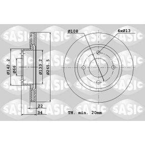 Bremsscheibe Bremsscheibendicke: 22mm, Lochanzahl: 4, Ø: 266mm mit OEM-Nummer 42 46 W7