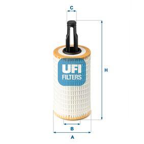 UFI  25.172.00 Ölfilter Ø: 65,5mm, Außendurchmesser 2: 16,5mm, Innendurchmesser 2: 27,0mm, Höhe: 166,0mm