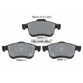 TEXTAR  2590501 Bremsbelagsatz, Scheibenbremse Breite 1: 155,5mm, Breite 2: 155,3mm, Höhe 1: 71,5mm, Höhe 2: 69mm, Dicke/Stärke: 20,2mm