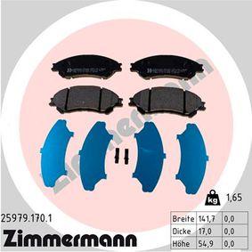 Bremsbelagsatz, Scheibenbremse Breite: 141,8mm, Höhe: 55mm, Dicke/Stärke: 16mm mit OEM-Nummer 55810-61M50