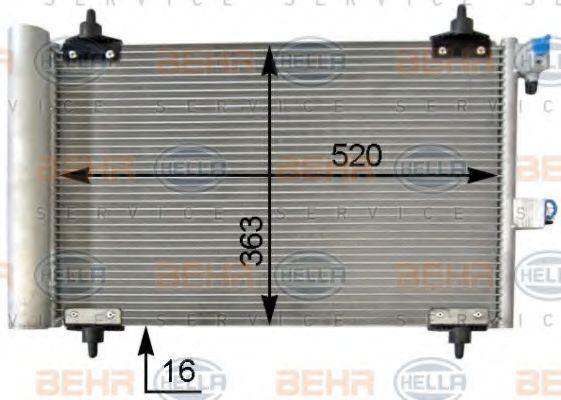 HELLA  8FC 351 301-034 Kondensator, Klimaanlage