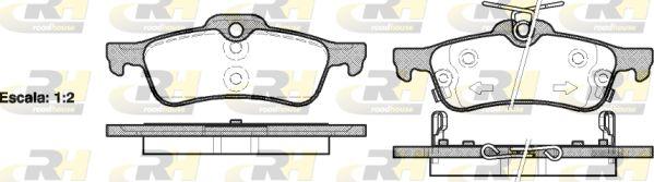 ROADHOUSE  2862.02 Bremsbelagsatz, Scheibenbremse Höhe: 43,7mm, Dicke/Stärke: 14,5mm