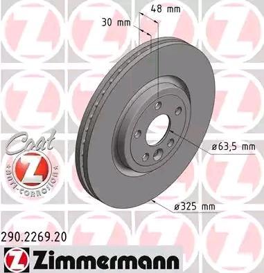 Bremsscheiben 290.2269.20 ZIMMERMANN 290.2269.20 in Original Qualität