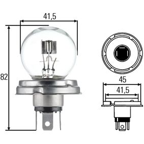 Glühlampe, Fernscheinwerfer R2 (Bilux), 45/40W, 12V 8GD 002 088-131