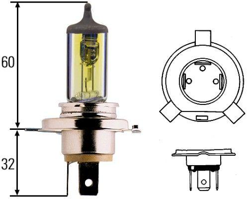Glühlampe, Fernscheinwerfer 8GJ 002 525-341 HELLA H4 in Original Qualität