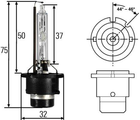 Bulb, spotlight 8GS 007 949-101 HELLA D2S original quality
