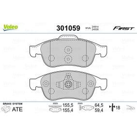 Bremsbelagsatz, Scheibenbremse Breite 2: 155,4mm, Breite: 155,5mm, Höhe 2: 59,4mm, Höhe: 64,5mm, Dicke/Stärke 2: 18mm, Dicke/Stärke: 18mm mit OEM-Nummer 4106 059 61R