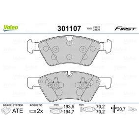 Комплект спирачно феродо, дискови спирачки 301107 M-класа (W164) ML 320 CDI 3.0 4-matic (164.122) Г.П. 2007
