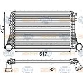 Ladeluftkühler für VW TOURAN (1T1, 1T2) 1.9 TDI 105 PS ab Baujahr 08.2003 HELLA Ladeluftkühler (8ML 376 746-121) für