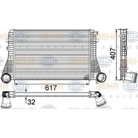 Ladeluftkühler für VW TOURAN (1T1, 1T2) 1.9 TDI 105 PS ab Baujahr 08.2003 HELLA Ladeluftkühler (8ML 376 746-711) für