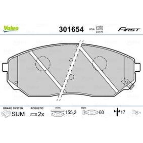 2007 KIA Sorento jc 2.5 CRDi Brake Pad Set, disc brake 301654
