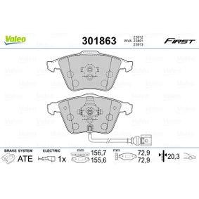 Bremsbelagsatz, Scheibenbremse Breite 2: 155,6mm, Breite: 156,7mm, Höhe: 72,9mm, Dicke/Stärke: 20,3mm mit OEM-Nummer 1K0.698.151B