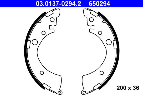 ATE  03.0137-0294.2 Brake Shoe Set Width: 36mm