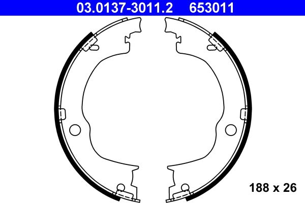 ATE  03.0137-3011.2 Bremsbackensatz, Feststellbremse Breite: 26mm