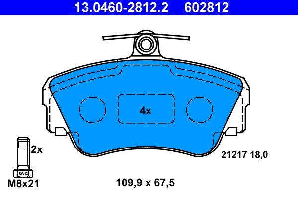 ATE  13.0460-2812.2 Bremsbelagsatz, Scheibenbremse Breite: 109,9mm, Höhe: 67,5mm, Dicke/Stärke: 18,0mm