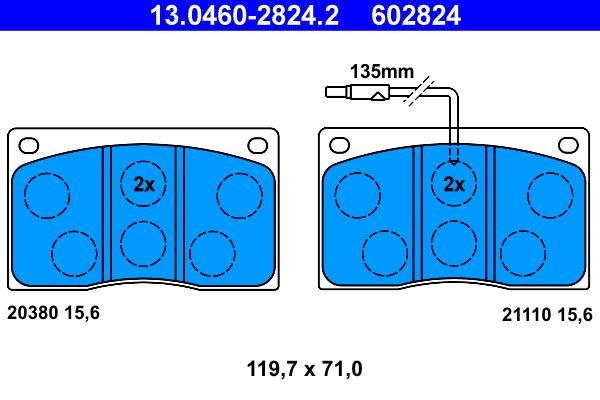 ATE  13.0460-2824.2 Bremsbelagsatz, Scheibenbremse Breite: 119,7mm, Höhe: 71,0mm, Dicke/Stärke: 15,6mm
