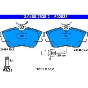 Motorhalter für VW TRANSPORTER IV Bus (70XB, 70XC, 7DB, 7DW) 2.5 TDI 102 PS ab Baujahr 09.1995 ATE Bremsbelagsatz, Scheibenbremse (13.0460-2838.2) für