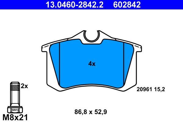 ATE  13.0460-2842.2 Bremsbelagsatz, Scheibenbremse Breite: 86,8mm, Höhe: 52,9mm, Dicke/Stärke: 15,2mm