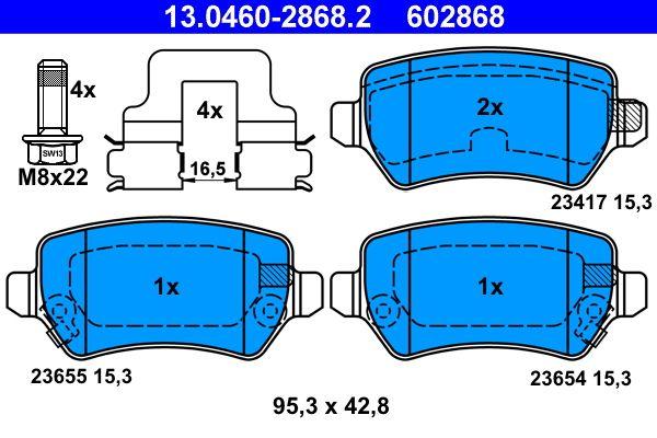 Комплект спирачно феродо, дискови спирачки ATE 23654 експертни познания