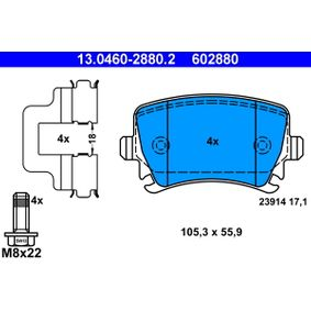 ATE Bremsbelagsatz, Scheibenbremse 13.0460-2880.2 für AUDI A4 Cabriolet (8H7, B6, 8HE, B7) 3.2 FSI ab Baujahr 01.2006, 255 PS