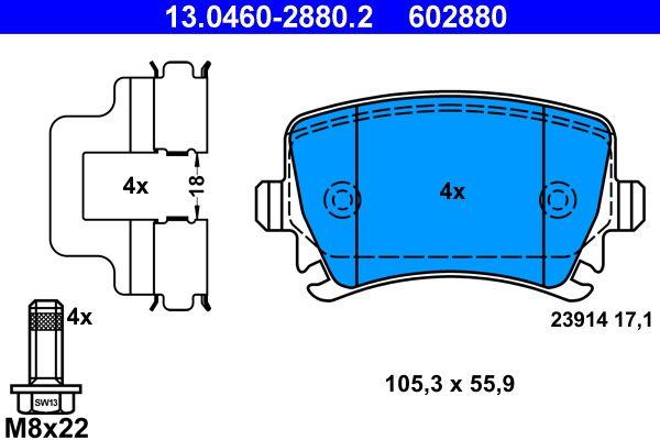 Bremsbeläge 13.0460-2880.2 ATE 602880 in Original Qualität