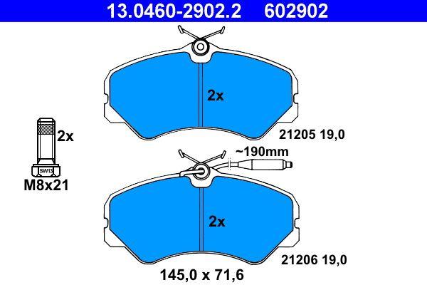ATE  13.0460-2902.2 Bremsbelagsatz, Scheibenbremse Breite: 145,0mm, Höhe: 71,6mm, Dicke/Stärke: 19,0mm