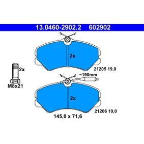 Bremsbelagsatz, Scheibenbremse Breite: 145,0mm, Höhe: 71,6mm, Dicke/Stärke: 19,0mm mit OEM-Nummer 9 941 208