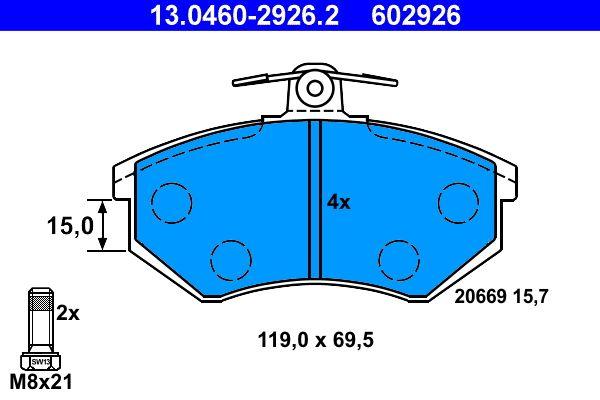 ATE  13.0460-2926.2 Bremsbelagsatz, Scheibenbremse Breite: 119,0mm, Höhe: 69,5mm, Dicke/Stärke: 15,7mm