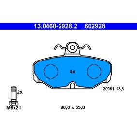 ATE Bremsbelagsatz, Scheibenbremse 13.0460-2928.2 für FORD SCORPIO I (GAE, GGE) 2.9 i ab Baujahr 09.1986, 145 PS