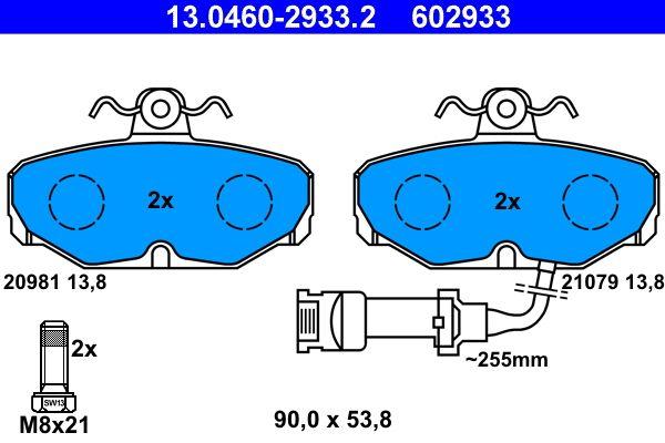 ATE  13.0460-2933.2 Bremsbelagsatz, Scheibenbremse Breite: 90,0mm, Höhe: 53,8mm, Dicke/Stärke: 13,8mm