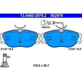 ATE  13.0460-2979.2 Bremsbelagsatz, Scheibenbremse Breite: 130,0mm, Höhe: 58,7mm, Dicke/Stärke: 19,0mm