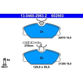 Pulseur d'Air et Composants RENAULT SAFRANE II (B54_) 2.2 dT (B54G) de Année 07.1996 113 CH: Jeu de plaquettes de frein, frein à disque (13.0460-2983.2) pour des ATE