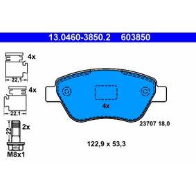 Bremsbelagsatz, Scheibenbremse Breite: 122,9mm, Höhe: 53,3mm, Dicke/Stärke: 18,0mm mit OEM-Nummer 77364893